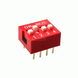 DIP Switch 4 Position Red Color