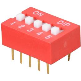 DIP switch with 5 positions Red Color
